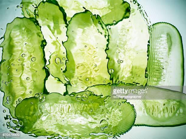 Cucumber slices under water