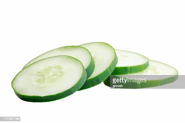 Cucumber slices with clipping path.