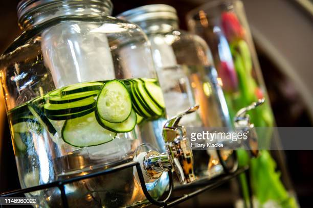 cucumber water bar - infused water stock pictures, royalty-free photos & images
