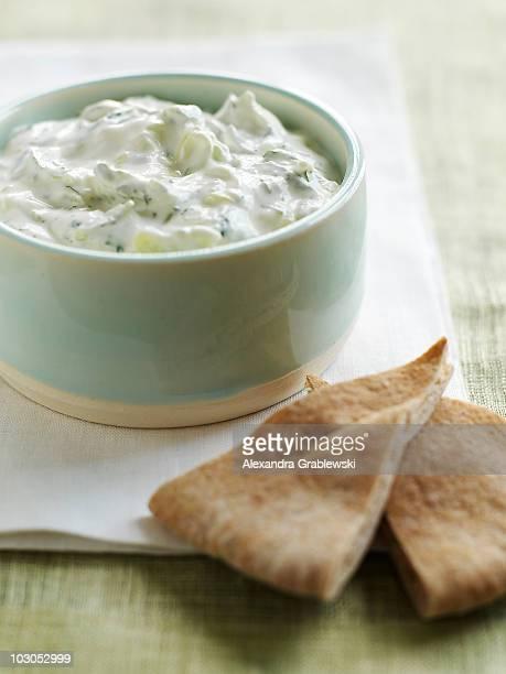 cucumber yogurt dip - greek culture stock pictures, royalty-free photos & images