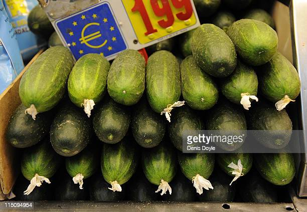 Cucumbers are for sale at San Miguel market on June 3 2011 in Madrid Spain Spaniards continue to buy fresh fruit and vegetables despite the outbreak...