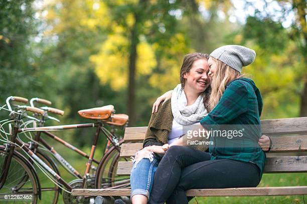 Cuddling on a Bench