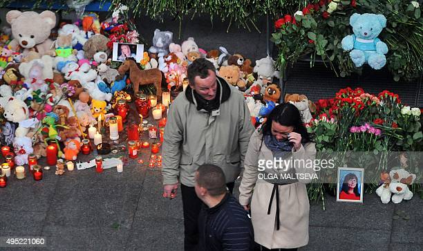 Cuddly toys flowers and portraits have been laid at Pulkovo international airport outside Saint Petersburg on November 1 2015 Russia mourned its...