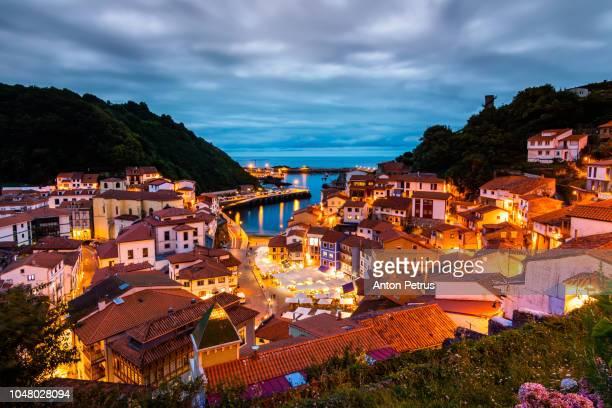 Cudillero, picturesque fishing village at dusk, Asturias, Spain