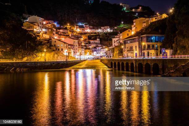 Cudillero, picturesque fishing village at night, Asturias, Spain