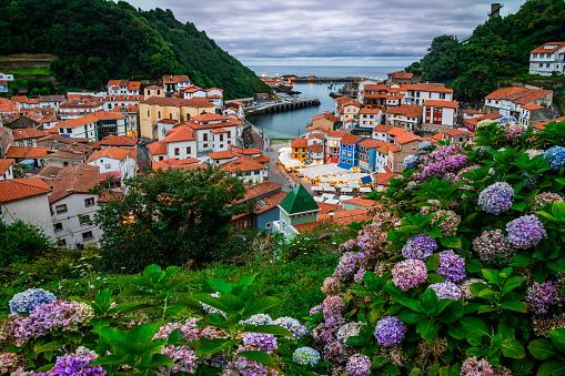 Cudillero, picturesque fishing village at sunset, Asturias, Spain - gettyimageskorea