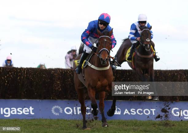 Cue Card and Paddy Brennan in action during The Betfair Ascot Steeple Chase Race run during The Betfair Ascot Chase Raceday at Ascot Racecourse Esher