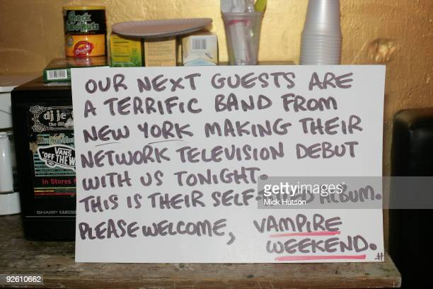 A cue card lefft backstage for the announcer of Vampire Weekend at The Bowery Ballroom on January 30th 2008 in New York