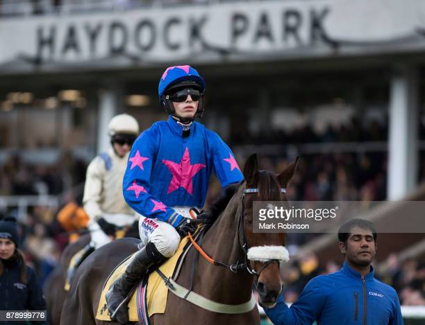 Cue Card ridden by Harry Cobden in the Parade Ring before the Betfair Chase on November 25 2017 in Haydock England