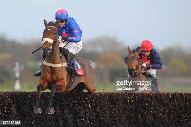 Cue Card ridden by Joe Tizzard jumps the last fence ahead of Bobs Worth ridden by Barry Geraghty but is beaten in a photo finish during the Fuller's...