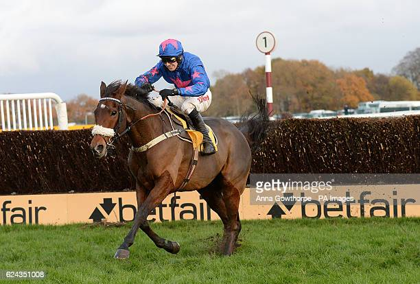 Cue Card ridden by Paddy Brennan clears the final fence to win the Betfair Steeple Chase during Betfair Chase day at Haydock Racecourse