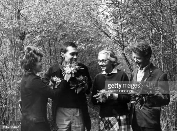 Cueillette du muguet pour le 1er mai, circa 1970, France.