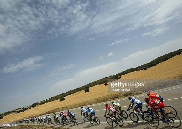 The pack rides during the fifth stage of the tour of Spain from Alcazar de San Juan to Cuenca 31 August 2005 Norwegian Thor Hoshovd of Credit...