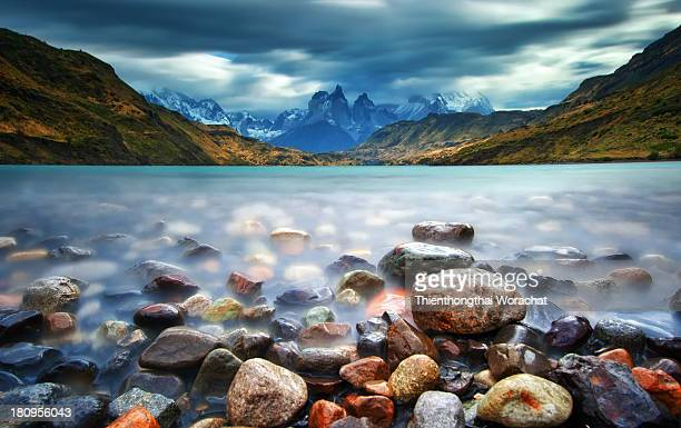 cuernos del paine - torres del paine national park stock photos and pictures