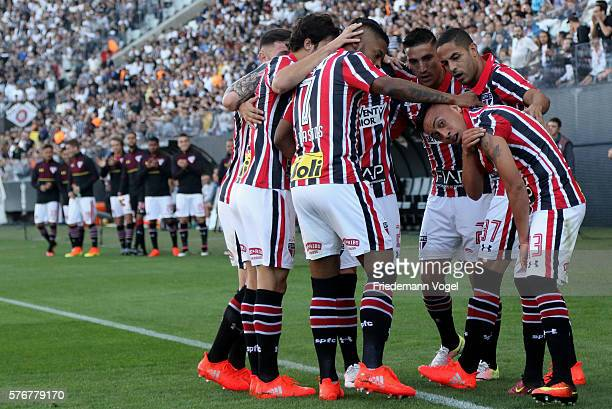 Cueva of Sao Paulo celebrates scoring the first goal with his team during the match between Corinthians and Sao Paulo for the Brazilian Series A 2016...