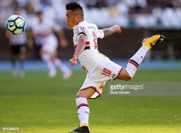 Cueva of Sao Paulo kicks the ball during a match between Botafogo and Sao Paulo as part of Brasileirao Series A 2017 at Nilton Santos Stadium on July...