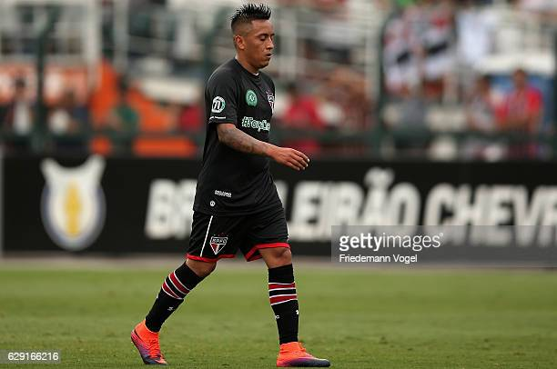 Cueva of Sao Paulo walks of after geting the red card during the match between Sao Paulo and Santa Cruz for the Brazilian Series A 2016 at Pacaembu...