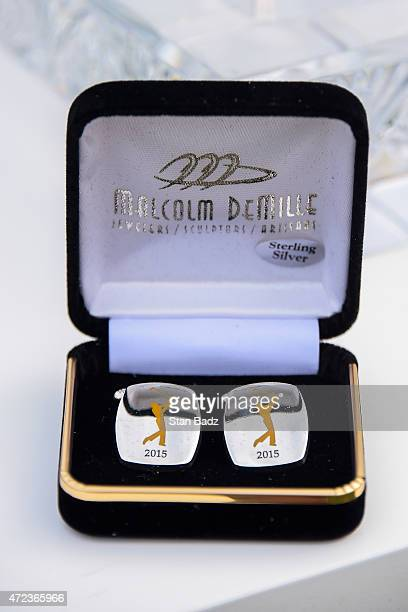 Cufflinks to be presented to first time participants are displayed during practice for THE PLAYERS Championship on THE PLAYERS Stadium Course at TPC...
