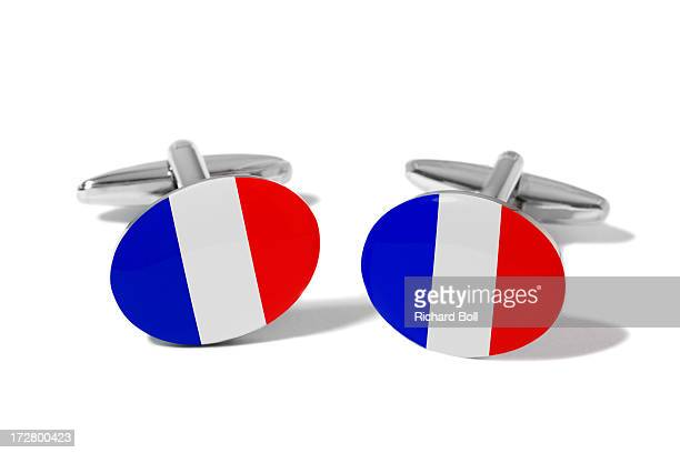 Cufflinks with a design of the French flag