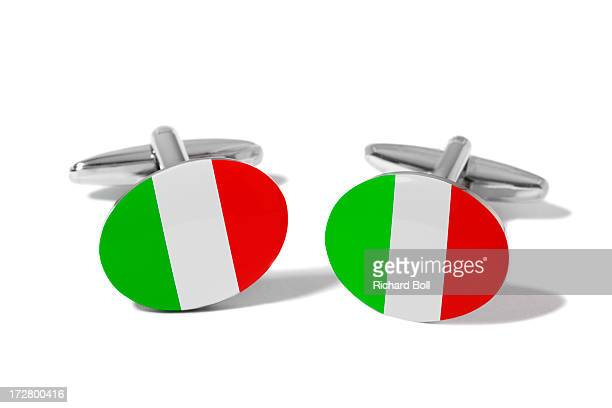 Cufflinks with a design of the Italian flag