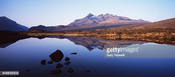 Cuillin mountain range reflected in a Loch