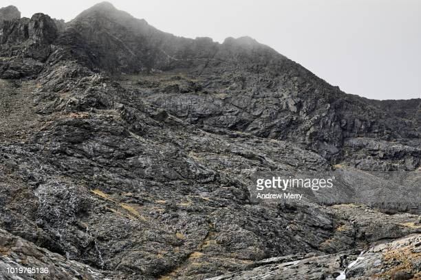 cuillin mountain ridge in mist, fog, cloud, isle of skye - steep stock photos and pictures