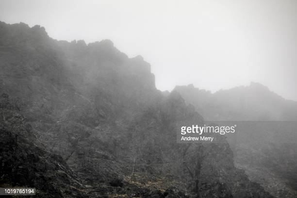 cuillin mountain ridge in mist, fog, cloud, isle of skye - ridge stock pictures, royalty-free photos & images