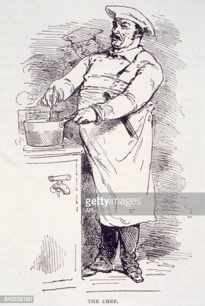 Cuisinier préparant un plat en 1874