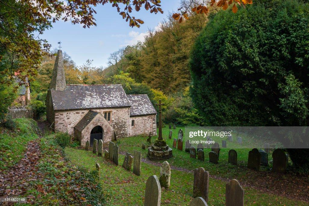 Culbone church in autumn in the Exmoor National Park : News Photo