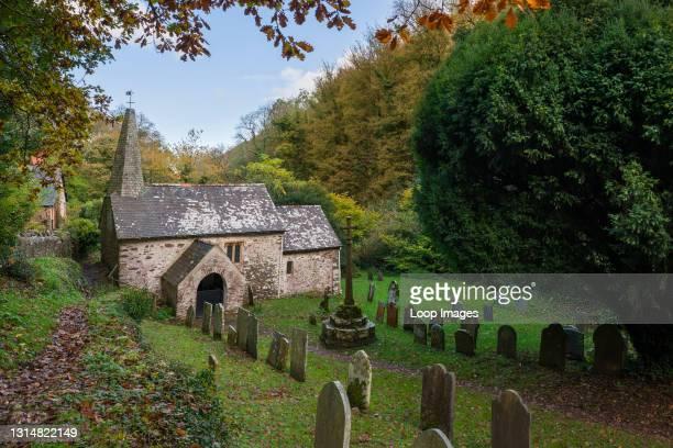 Culbone church in autumn in the Exmoor National Park.