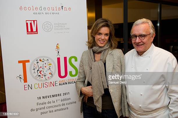 Culinary journalist and member of the jury Julie Andrieu and president of the jury Chef Alain Ducasse attend the final of Chef Alain Ducasse 'Tous En...