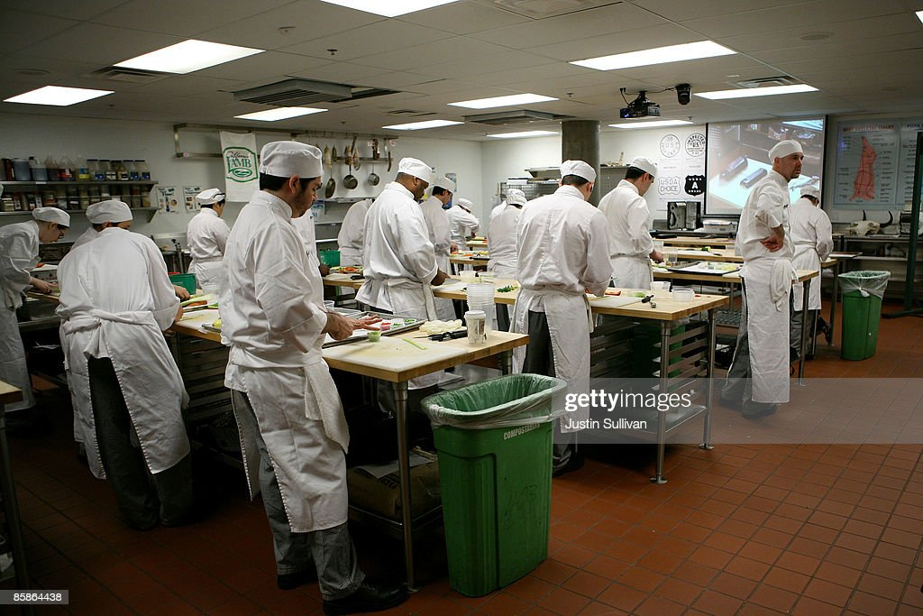 Culinary students do prep work for a meal during a butchery class at the Le Cordon Bleu program at California Culinary Academy April 8, 2009 in San Francisco, California. Popularity of food shows and an increase in concern over food safety has many people considering a career in the food industry which offers a broad range of jobs from food critics to chefs. In 2008, the Institute of Culinary Education saw a 12 percent increase in enrollment inquiries.