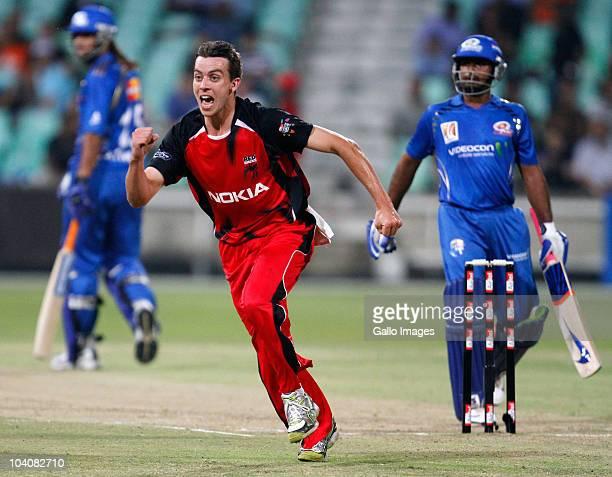 Cullen Bailey of South Australian Redbacks celebrates the wicket of Ambati Rayudu of Mumbai Indians during the Airtel Champions League Twenty20 match...
