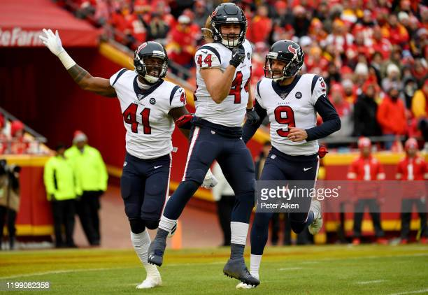 Cullen Gillaspia, Zach Cunningham and punter Bryan Anger of the Houston Texans celebrate a fumbled punt by the Kansas City Chiefs during the AFC...