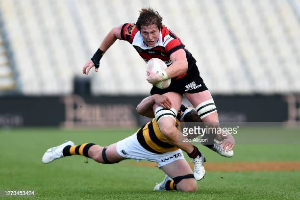 Cullen Grace of Canterbury gets caught by the defence during the round 2 Mitre 10 Cup match between Canterbury and Taranaki at Orangetheory Stadium...