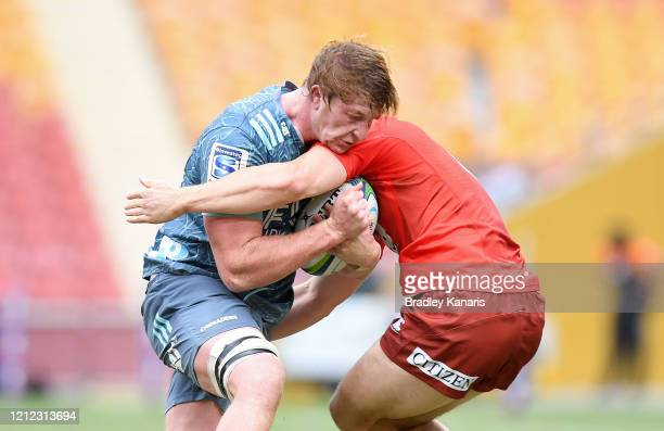 Cullen Grace of the Crusaders takes on the defence during the round seven Super Rugby match between the Sunwolves and the Crusaders at Suncorp...