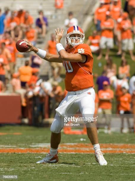 Cullen Harper of the Clemson Tigers drops back to pass against the LouisianaMonroe Warhawks at Memorial Stadium on September 8 2007 in Clemson South...