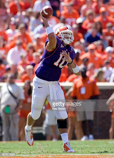Cullen Harper of the Clemson Tigers drops back to pass against the South Carolina State Bulldogs at Memorial Stadium on September 20 2008 in Clemson...