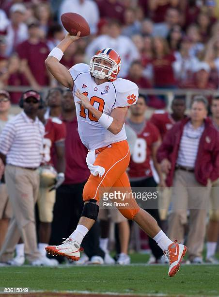 Cullen Harper of the Clemson Tigers rolls out to pass against the Florida State Seminoles at Doak Campbell Stadium on November 8 2008 in Tallahassee...