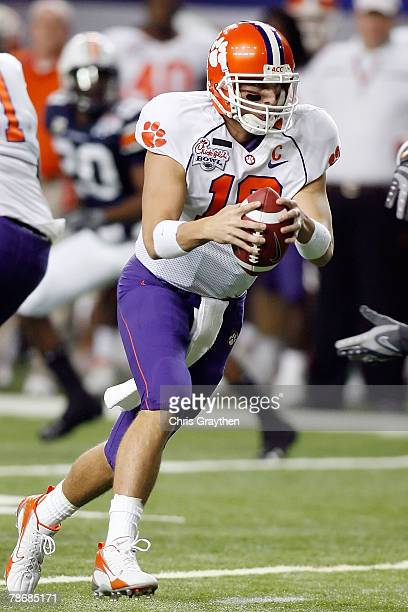 Cullen Harper of the Clemson University Tigers looks to pass during the ChickFilA Bowl on December 31 2007 at the Georgia Dome in Atlanta Georgia