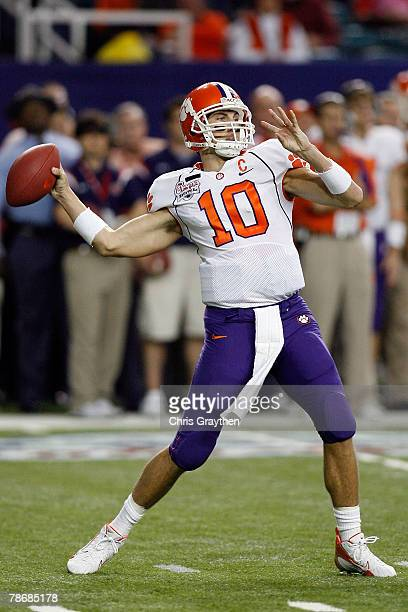 Cullen Harper of the Clemson University Tigers throws a pass during the ChickFilA Bowl on December 31 2007 at the Georgia Dome in Atlanta Georgia