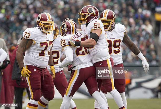 Cullen Jenkins Deshazor Everett Will Compton and Ricky Jean Francois of the Washington Redskins celebrate against the Philadelphia Eagles at Lincoln...