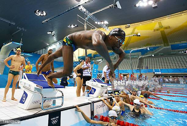 cullen jones of the united states dives off of the starting block during a training session - Olympic Swimming Starting Blocks