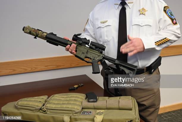 Culpeper County Sheriff Scott Jenkins speaks to AFP during an interview at the Sheriff's Office in Culpeper Virginia a Second Amendment sancuary some...