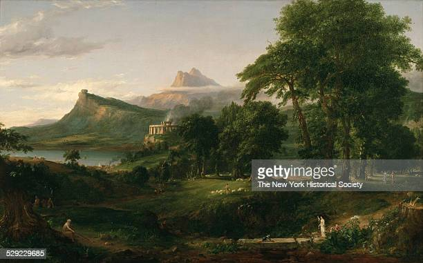 A cultivated pastoral landscape set in early summer bearing signs of advancing human civilization including a harbor town with rudimentary frame...