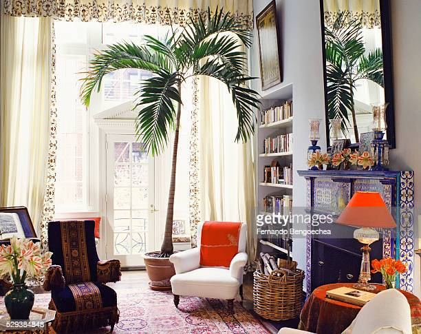 Cultural Exchange: Eclectic Furnishings in Living Room