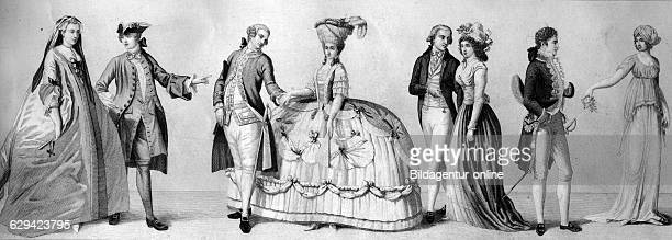 two civil costumes around 1740 berliner court dress around 1700 two dresses of the french revolution court dress1800 costume a la grecque from 1800...