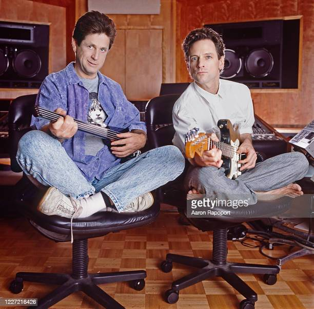 Cultural icons Brian Wilson and Lindsay Buckingham pose for a portrait in Hollywood, California