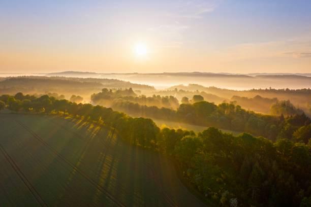 Cultural landscape with fog in morning light, near Icking, Toelzer Land, drone shot, Upper Bavaria, Bavaria, Germany