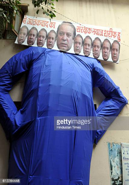A cultural organisation Sansatha Suryamanch prepare Ravana effigy with Pakistan Prime Minister Nawaz Sharif's face to be burnt on Dussehra condemning...